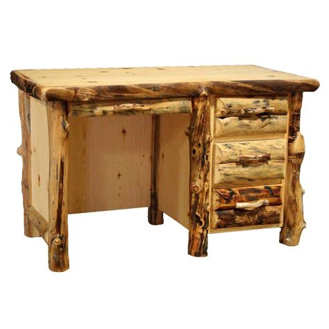 rustic wood office desk rustic log student desk with 3 drawers western country