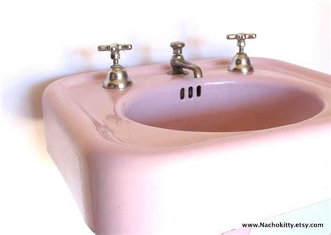 S Pink Square Cast Iron Pedestal Sink With Faucets