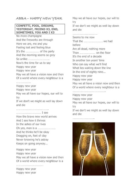 song worksheet happy  year  abba
