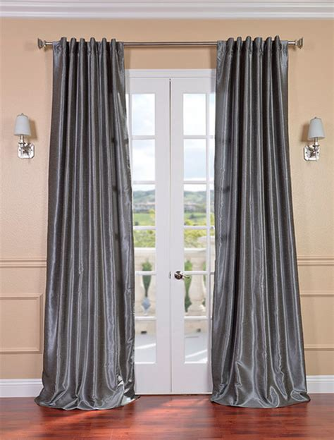 grey vintage textured faux dupioni silk curtain