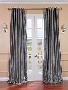Storm grey vintage textured faux dupioni silk curtain for Gray curtains texture