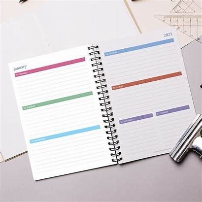 Planner Weekly A5 Horizontal Layout Printable Inserts