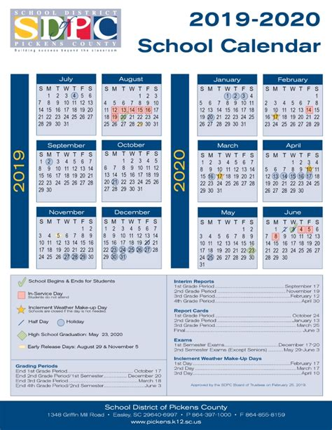 school calendar pickens county school district