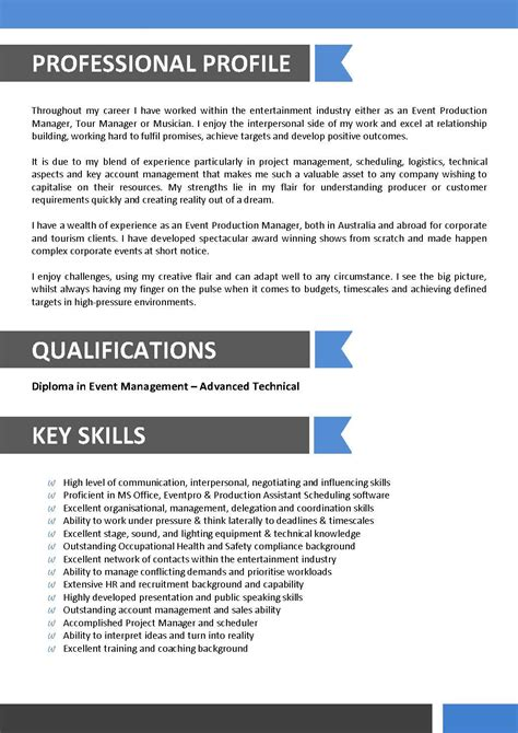sle resume for entertainment industry sle resume for