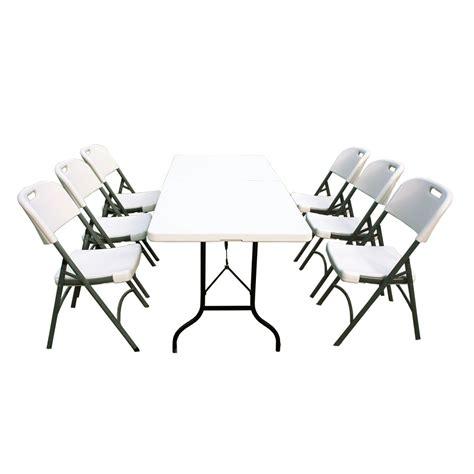 chaises de jardin pliantes ensemble table de jardin pliante 183cm et 6 chaises pliantes