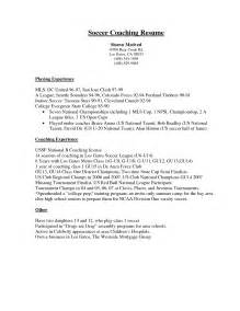 soccer coach resume template soccer coaching resume sle