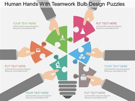 fr human hands with teamwork bulb design puzzles flat