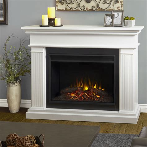 555 Kennedy Grand White Electric Fireplace