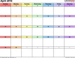 2018 April Calendar Template