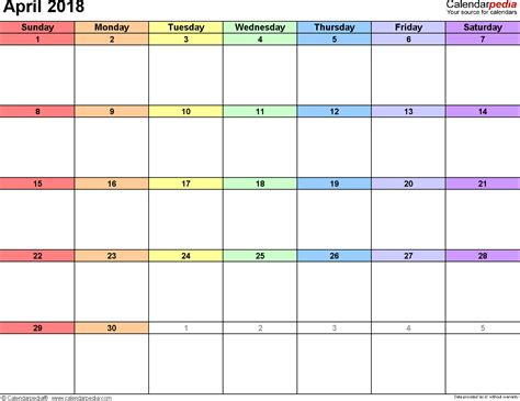 april  calendar templates  word excel