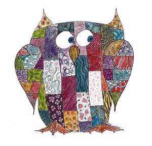 Patchwork Owls Clip Art