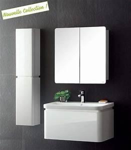 meuble salle de bain leny blanc laque avec vasque en With vasque sdb design