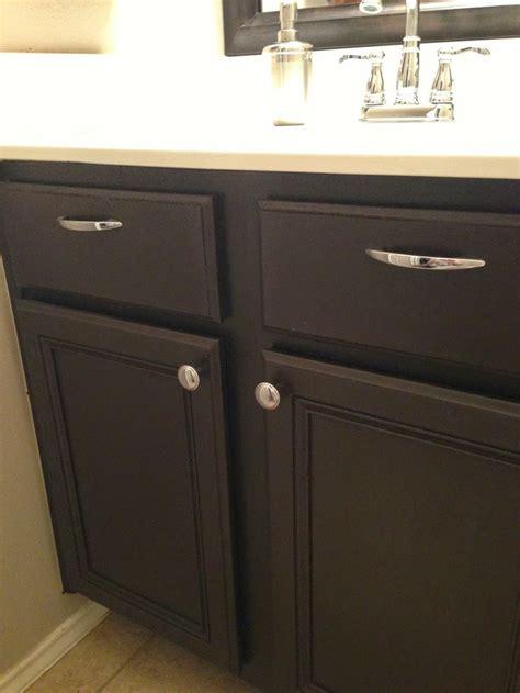 powder room transformation brown cabinets dark brown