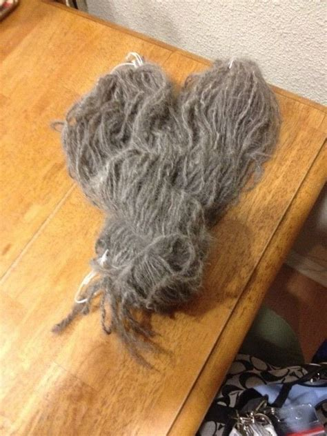 spinning  pets hair  yarn    pet