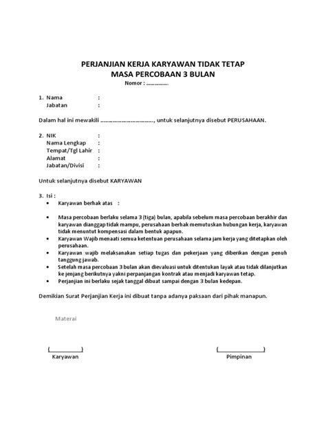 Contoh Surat Perjanjian Kontrak Kerja Karyawan Swasta Doc - Kumpulan Surat Penting