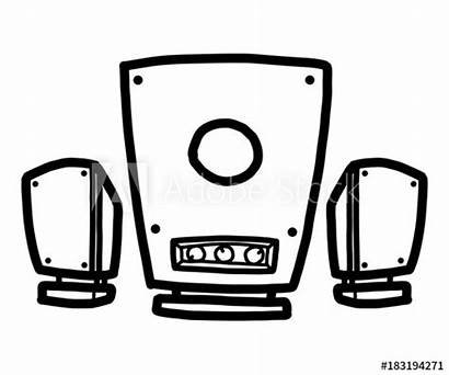 Speaker Cartoon Drawn Isolated Sketch Similar Comp