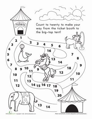 Counting 120 Let's Go To The Circus! Worksheet
