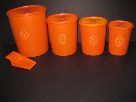 Retro Vintage Tupperware Canister Set 9 pc Orange servalier