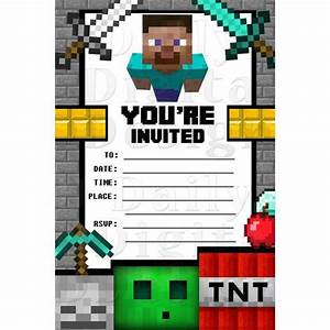 Minecraft party invitations birthday invites blank fill in for Www uprint com templates