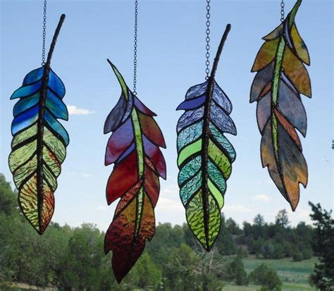 stained glass feather ghost dance feather hand blown