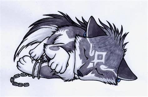 Cute And Sleeping Anime Wolf
