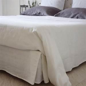 Cache Sommier Blanc : cache sommier en lin blanc maison d 39 t ~ Teatrodelosmanantiales.com Idées de Décoration
