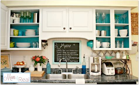 white and turquoise kitchen open cabinets with white aqua lime green silver accents mom 4 real