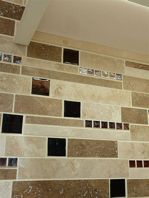 brown glass travertine mix backsplash tile  traditional