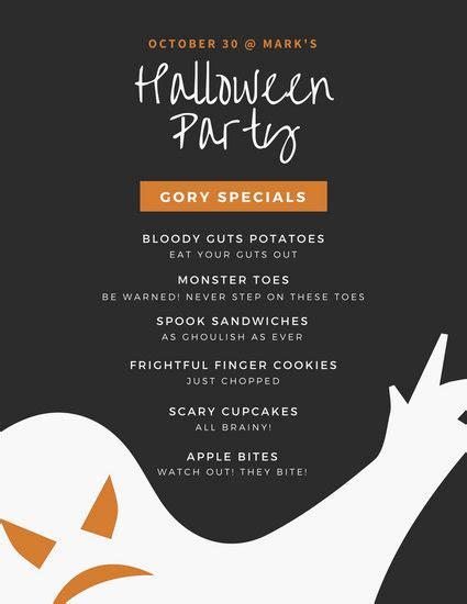 customize  halloween menu templates  canva