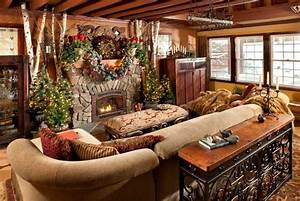 Rustic christmas decorating ideas canadian log homes for Christmas decorating ideas for log cabins