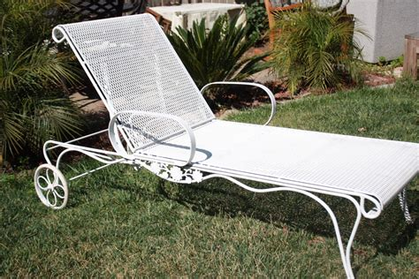 chaise metal vintage vintage wrought iron salterini woodard mesh metal chaise lounge chair a side table mesh