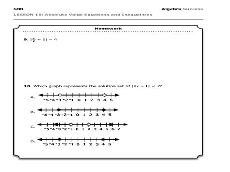Absolute Value Equations Worksheet With Answers Tessshebaylo
