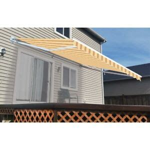 aleko motorized retractable home patio awning  ft multistripe yellow ebay