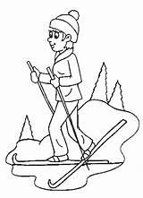 Coloring Skiing Popular Skiers sketch template