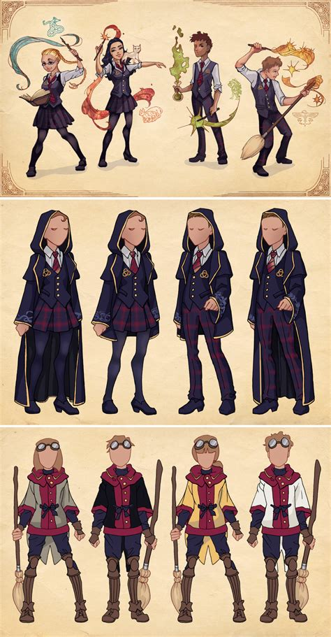 ilvermorny house uniforms by azure and copper on deviantart