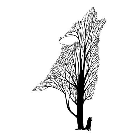 sticker hurlement du loup melange arbre dessin tatouage