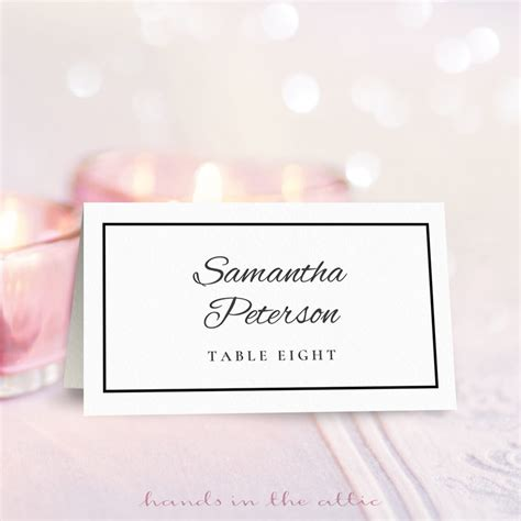 wedding place card template   hands