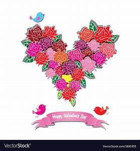 Fower Love Heart Valentine Day Royalty Free Vector Image