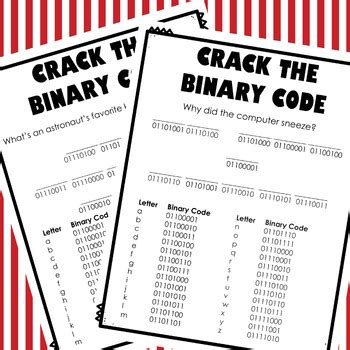 crack  binary code computer worksheets  thweatthearts