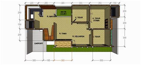ide desain  denah rumah  ukuran    meter