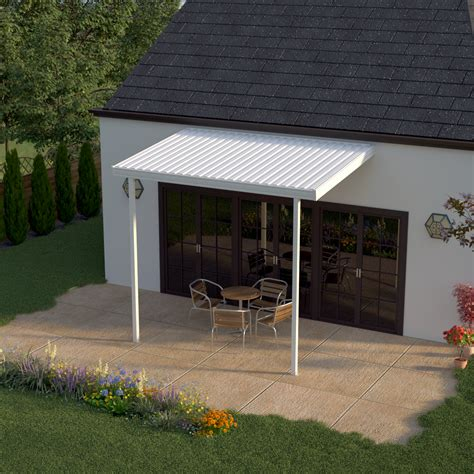 heritage patios 12 ft x 8 ft white aluminum attached