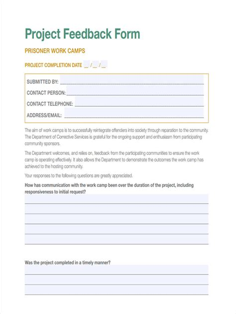 project feedback forms   ms word