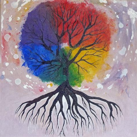 color wheel tree original acrylic painting bright rainbow color wheel tree