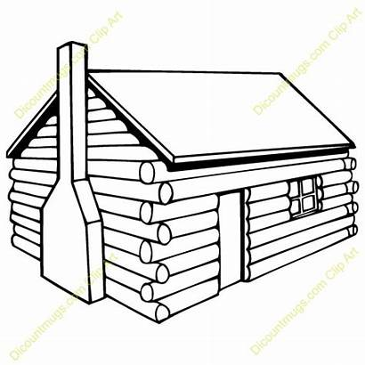 Cabin Log Clipart Drawing Clip Coloring Logging