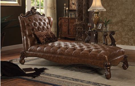 chaise versailles versailles 96544 chaise in brown pu by acme