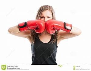 Mad Female Boxer Touching Red Boxing Gloves Together Stock ...