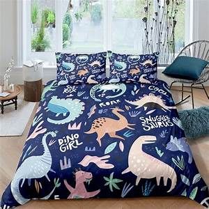 Girls, Dinosaur, Bedding, Set, Little, Dino, Pattern, Duvet, Cover