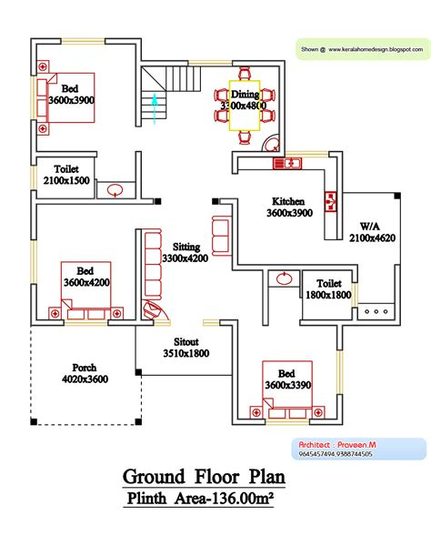 kerala style floor plan elevation home house plans