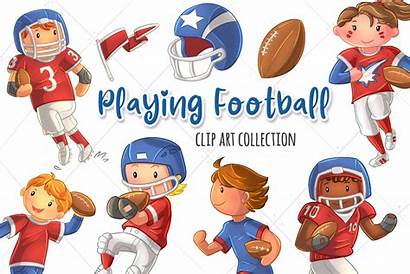 Football American Clipart Youth Playing Clip Clipground
