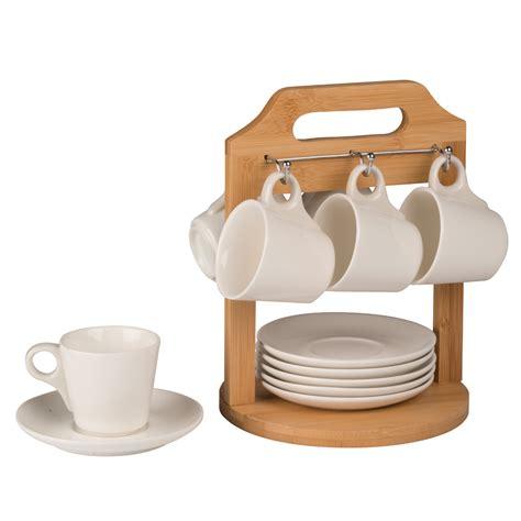 plan de travail cuisine bambou support présentoir bambou 6 soucoupes 6 tasses à café